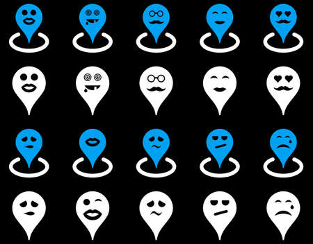 he laughs: Smiled map marker icons. Glyph set style is bicolor flat images, blue and white symbols, isolated on a black background.