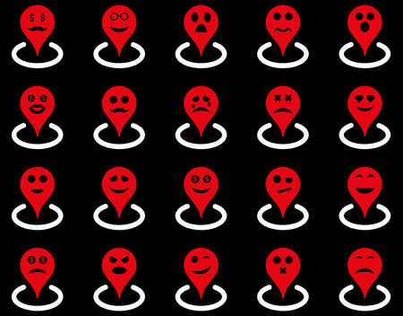 he laughs: Smiled location icons. Glyph set style is bicolor flat images, red and white symbols, isolated on a black background.