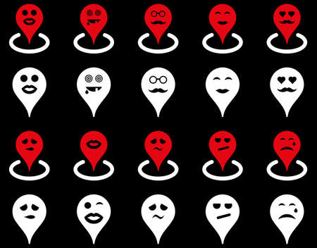 he laughs: Smiled map marker icons. Glyph set style is bicolor flat images, red and white symbols, isolated on a black background.