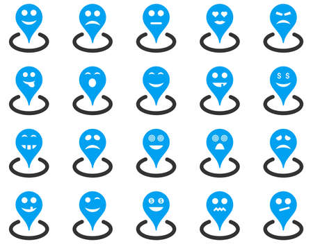 he laughs: Smiled location icons. Vector set style is bicolor flat images, blue and gray symbols, isolated on a white background.