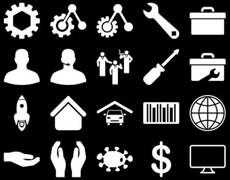 car care center: Settings and Tools Icons. Vector set style is flat images, white color, isolated on a black background.