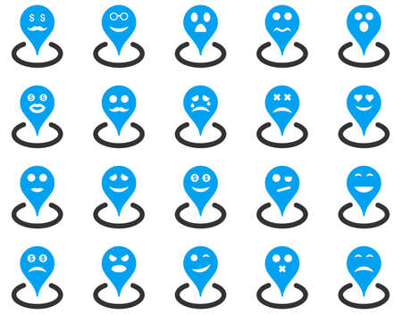 smiley face car: Smiled location icons. Glyph set style is bicolor flat images, blue and gray symbols, isolated on a white background. Stock Photo