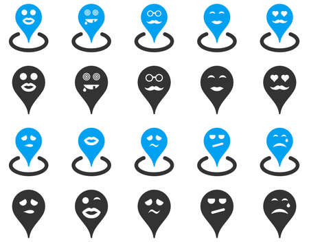 he laughs: Smiled map marker icons. Glyph set style is bicolor flat images, blue and gray symbols, isolated on a white background.