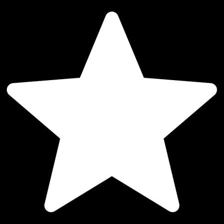 Star icon from Competition & Success Bicolor Icon Set. Glyph style is flat symbols, white color, rounded angles, black background.