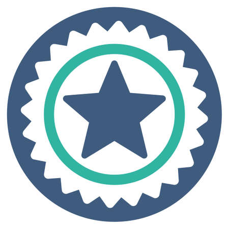 favorite number: Medal seal icon from Competition & Success Bicolor Icon Set. Vector style is flat bicolor symbols, cobalt and cyan colors, rounded angles, white background.