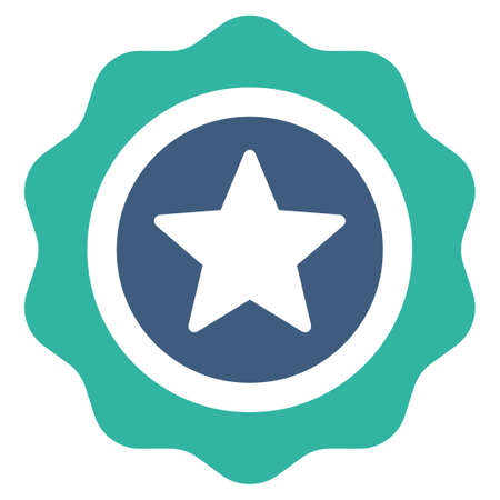favorite number: Reward seal icon from Competition & Success Bicolor Icon Set. Vector style is flat bicolor symbols, cobalt and cyan colors, rounded angles, white background. Illustration