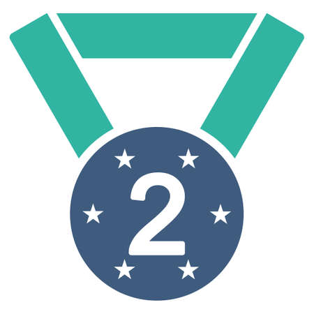 favorite number: Second medal icon from Competition & Success Bicolor Icon Set. Vector style is flat bicolor symbols, cobalt and cyan colors, rounded angles, white background.