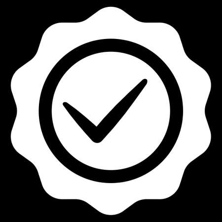 valid: Valid icon from Competition & Success Bicolor Icon Set. Glyph style is flat symbols, white color, rounded angles, black background. Stock Photo
