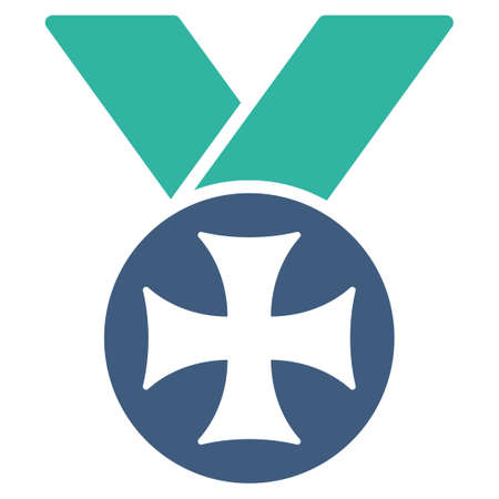 maltese: Maltese medal icon from Competition & Success Bicolor Icon Set. Vector style is flat bicolor symbols, cobalt and cyan colors, rounded angles, white background. Illustration