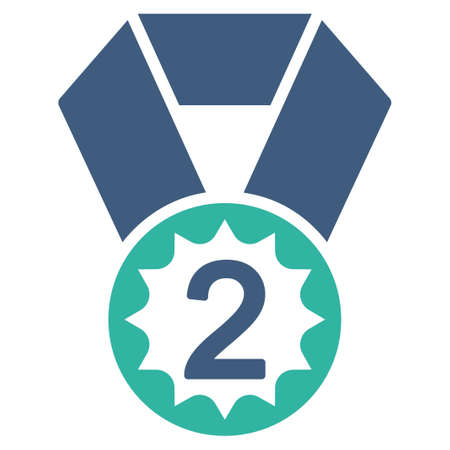 favorite number: Second place icon from Competition & Success Bicolor Icon Set. Vector style is flat bicolor symbols, cobalt and cyan colors, rounded angles, white background.