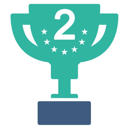 second prize: Second prize icon from Competition & Success Bicolor Icon Set. Vector style is flat bicolor symbols, cobalt and cyan colors, rounded angles, white background.