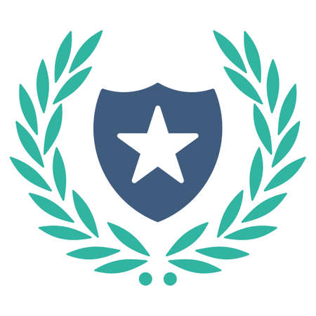 cognizance: Shield icon from Competition & Success Bicolor Icon Set. Vector style is flat bicolor symbols, cobalt and cyan colors, rounded angles, white background. Illustration