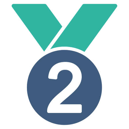 favorite number: Silver medal icon from Competition & Success Bicolor Icon Set. Vector style is flat bicolor symbols, cobalt and cyan colors, rounded angles, white background.