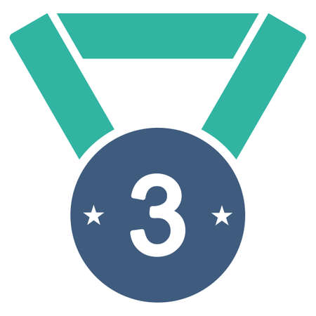 favorite number: Third medal icon from Competition & Success Bicolor Icon Set. Vector style is flat bicolor symbols, cobalt and cyan colors, rounded angles, white background.
