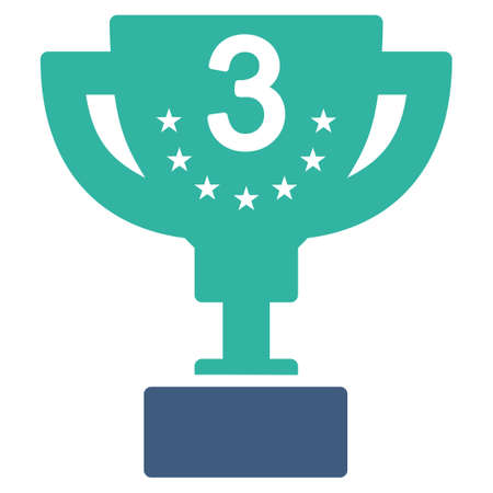 cobalt: Third prize icon from Competition & Success Bicolor Icon Set. Vector style is flat bicolor symbols, cobalt and cyan colors, rounded angles, white background. Illustration