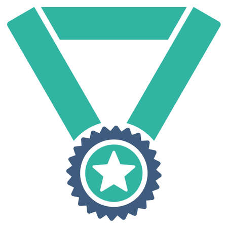 favorite number: Winner medal icon from Competition & Success Bicolor Icon Set. Vector style is flat bicolor symbols, cobalt and cyan colors, rounded angles, white background. Illustration