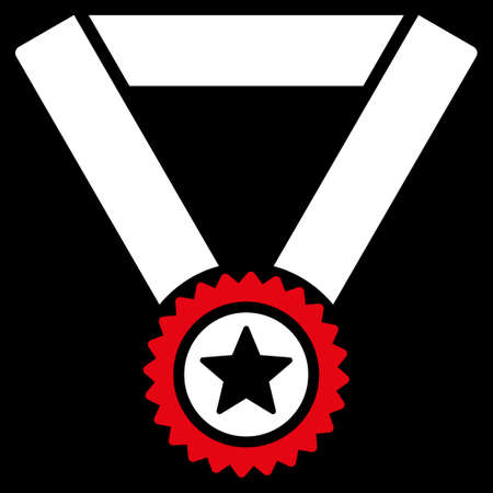 favorite number: Winner medal icon from Competition & Success Bicolor Icon Set. Vector style is flat bicolor symbols, red and white colors, rounded angles, black background. Illustration