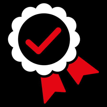 favorite number: Approved icon from Competition & Success Bicolor Icon Set. Vector style is flat bicolor symbols, red and white colors, rounded angles, black background.