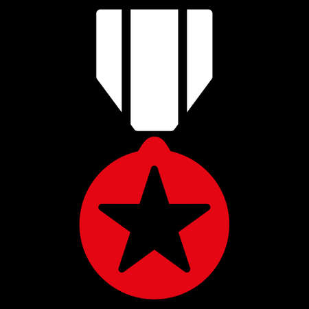 Army award icon from Competition & Success Bicolor Icon Set. Vector style is flat bicolor symbols, red and white colors, rounded angles, black background.
