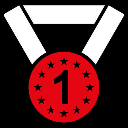 favorite number: First medal icon from Competition & Success Bicolor Icon Set. Vector style is flat bicolor symbols, red and white colors, rounded angles, black background.