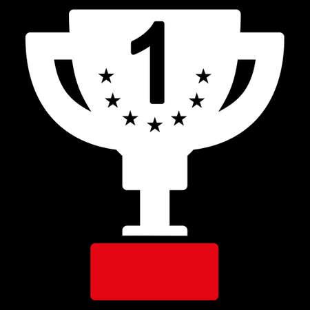 primer premio: Primer premio del Concurso de icono y �xito Bicolor Icon Set. Estilo Vector es s�mbolos planas bicolor, colores rojo y blanco, �ngulos redondeados, fondo negro. Vectores