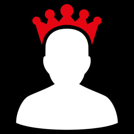 czar: King icon from Competition & Success Bicolor Icon Set. Vector style is flat bicolor symbols, red and white colors, rounded angles, black background.