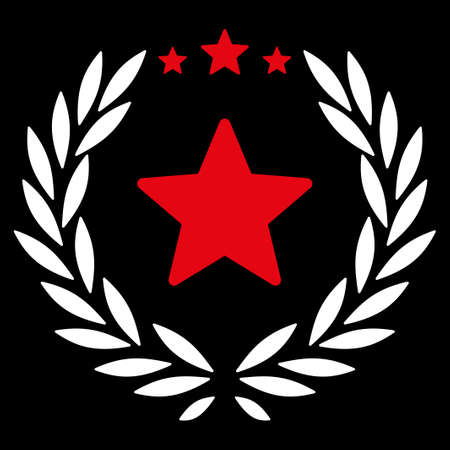 laureate: Proud icon from Competition & Success Bicolor Icon Set. Vector style is flat bicolor symbols, red and white colors, rounded angles, black background.