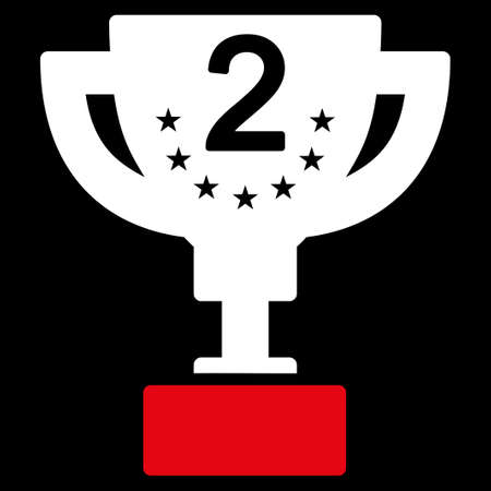 second prize: Second prize icon from Competition & Success Bicolor Icon Set. Vector style is flat bicolor symbols, red and white colors, rounded angles, black background. Illustration