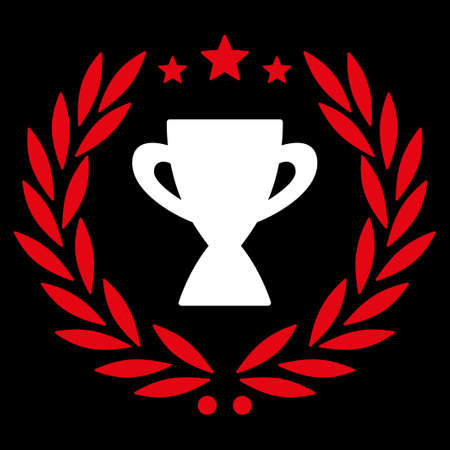 cognizance: Glory icon from Competition & Success Bicolor Icon Set. Vector style is flat bicolor symbols, red and white colors, rounded angles, black background. Illustration