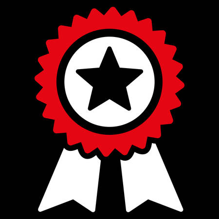 favorite number: Guarantee icon from Competition & Success Bicolor Icon Set. Vector style is flat bicolor symbols, red and white colors, rounded angles, black background. Illustration