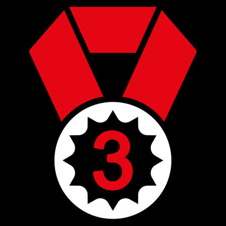 favorite number: Third place icon from Competition & Success Bicolor Icon Set. Vector style is flat bicolor symbols, red and white colors, rounded angles, black background. Illustration