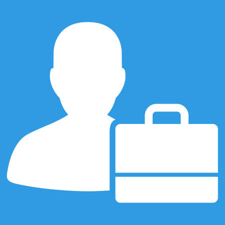 bookkeeper: Accounter icon. Vector style is flat symbol, white color, rounded angles, blue background. Illustration