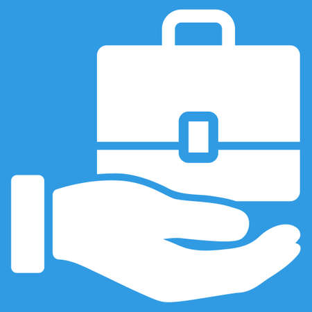keeping: Accounting icon. Vector style is flat symbol, white color, rounded angles, blue background.