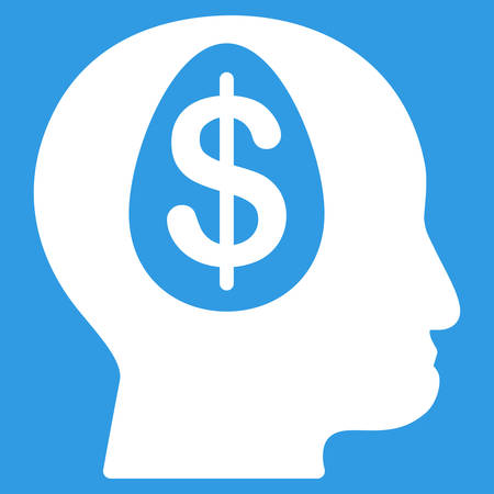 american banker: Banker icon. Vector style is flat symbol, white color, rounded angles, blue background.