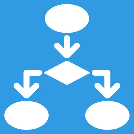 flowchart: Flowchart icon. Vector style is flat symbol, white color, rounded angles, blue background.