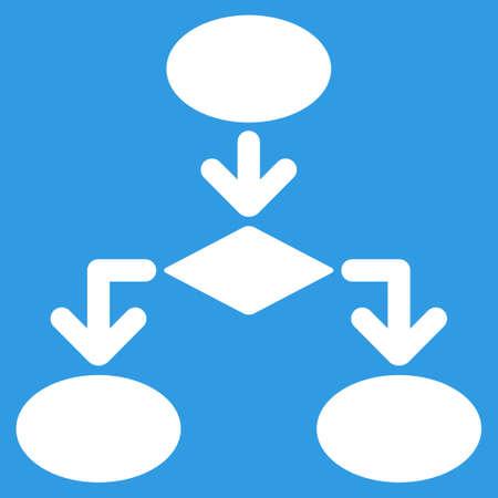 diagrama de flujo: icono de diagrama de flujo. estilo vector es símbolo plana, de color blanco, ángulos redondeados, fondo azul. Vectores