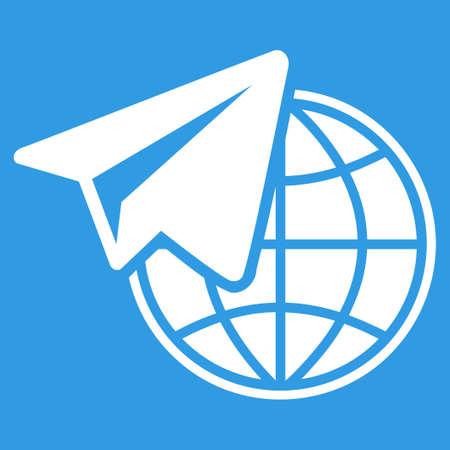 telegrama: Icono Freelance. Estilo Vector es s�mbolo plana, color blanco, �ngulos redondeados, fondo azul.