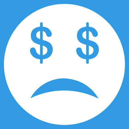 bankrupt: Bankrupt Smiley icon. Vector style is flat symbol, white color, rounded angles, blue background. Illustration