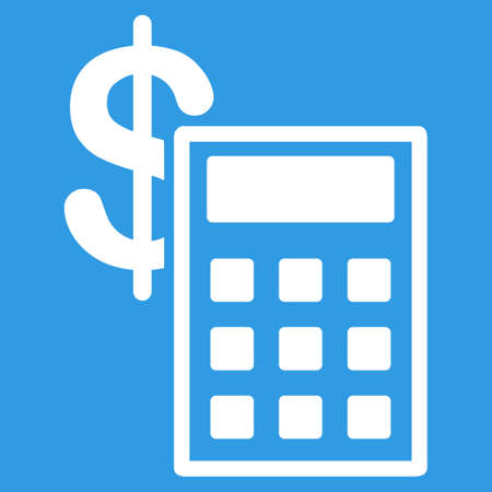 cost estimate: Calculation icon. Vector style is flat symbol, white color, rounded angles, blue background. Illustration