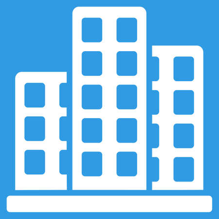 burg: City icon. Vector style is flat symbol, white color, rounded angles, blue background.