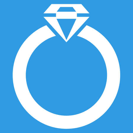 white color: Diamond Ring icon. Vector style is flat symbol, white color, rounded angles, blue background.