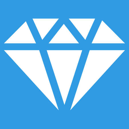 karat: Diamond icon. Vector style is flat symbol, white color, rounded angles, blue background. Illustration