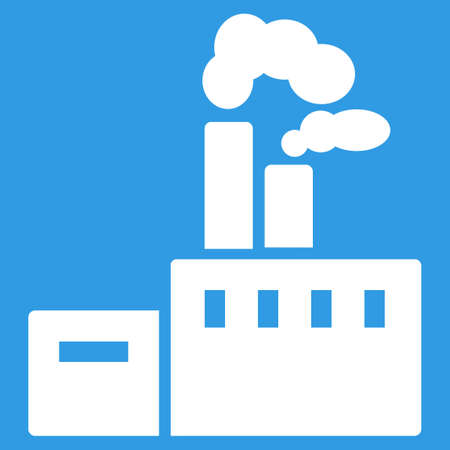 Factory icon. Vector style is flat symbol, white color, rounded angles, blue background.
