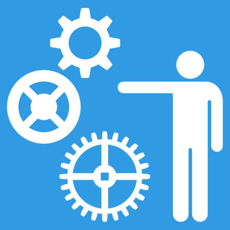 gear box: Project icon. Vector style is flat symbol, white color, rounded angles, blue background. Illustration