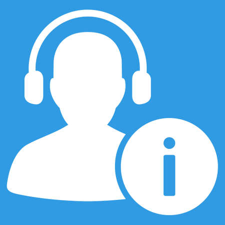 help desk: Help Desk icon. Vector style is flat symbol, white color, rounded angles, blue background.
