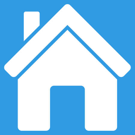 birthplace: House icon. Vector style is flat symbol, white color, rounded angles, blue background.