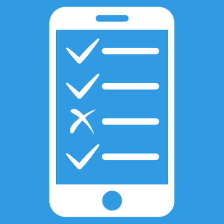 numerate: Mobile Tasks icon. Vector style is flat symbol, white color, rounded angles, blue background.