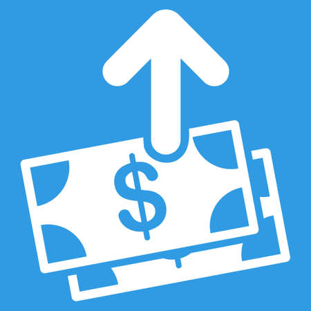 Pay icon. Vector style is flat symbol, white color, rounded angles, blue background.