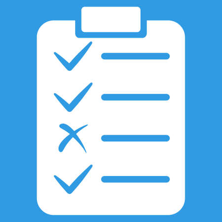 numerate: Task List icon. Vector style is flat symbol, white color, rounded angles, blue background.