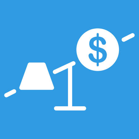 Market icon. Vector style is flat symbol, white color, rounded angles, blue background. Illustration